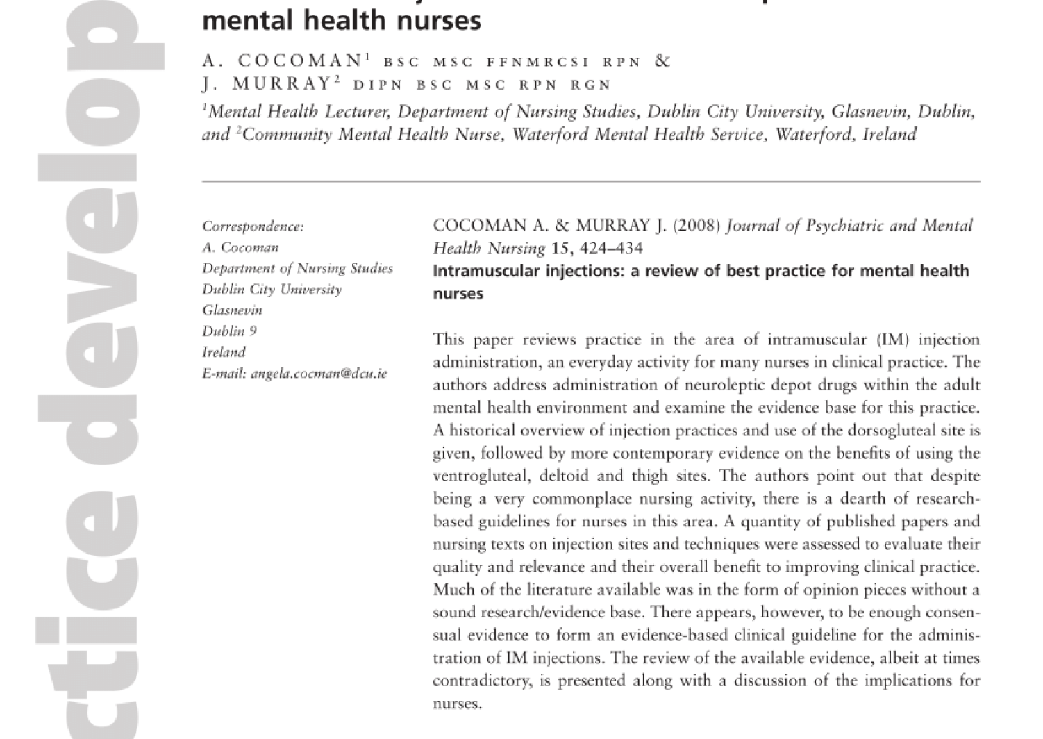 Pdf Intramuscular Injections A Review Of Best Practice For Mental Health Nurses