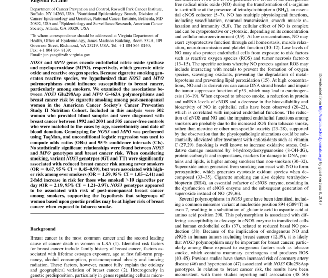 Possible Relation Between The Nos3 Gene Glu298asp Polymorphism And Bladder Cancer In Turkey Request Pdf