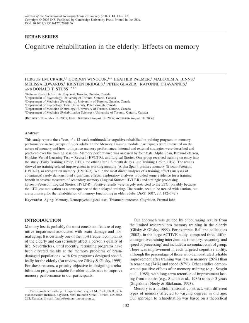 Cognitive Rehabilitation In The Elderly Effects On