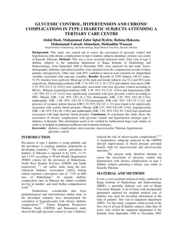(PDF) Glycemic control, hypertension and chronic ...