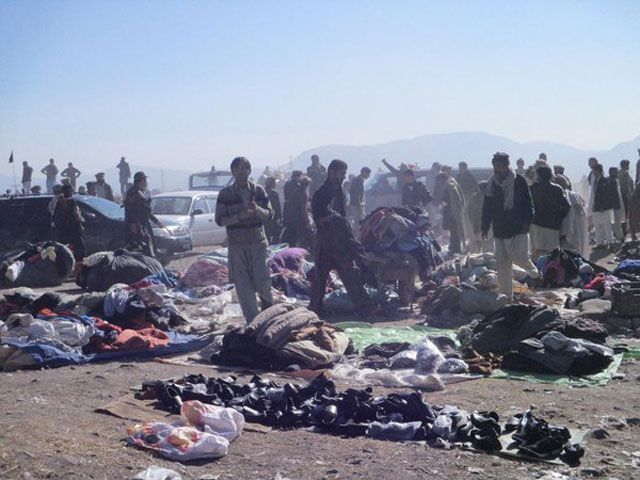 People gather at the blast site in Parachinar, Kurram Agency on December 13, 2015. PHOTO: TWITTER