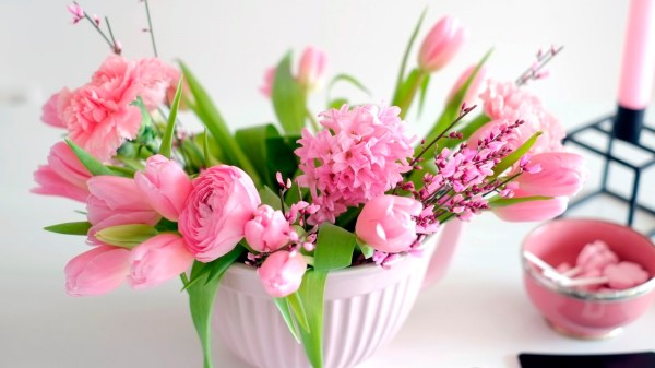 Wallpaper flowers bouquet tulips pink vase for the