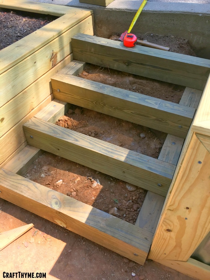 How To Make Timber And Pea Gravel Stairs • The Reaganskopp Homestead   Diy Outdoor Wooden Steps   Grass Sl*P*   Backyard   Wood Entry   Corner Deck   Landscaped