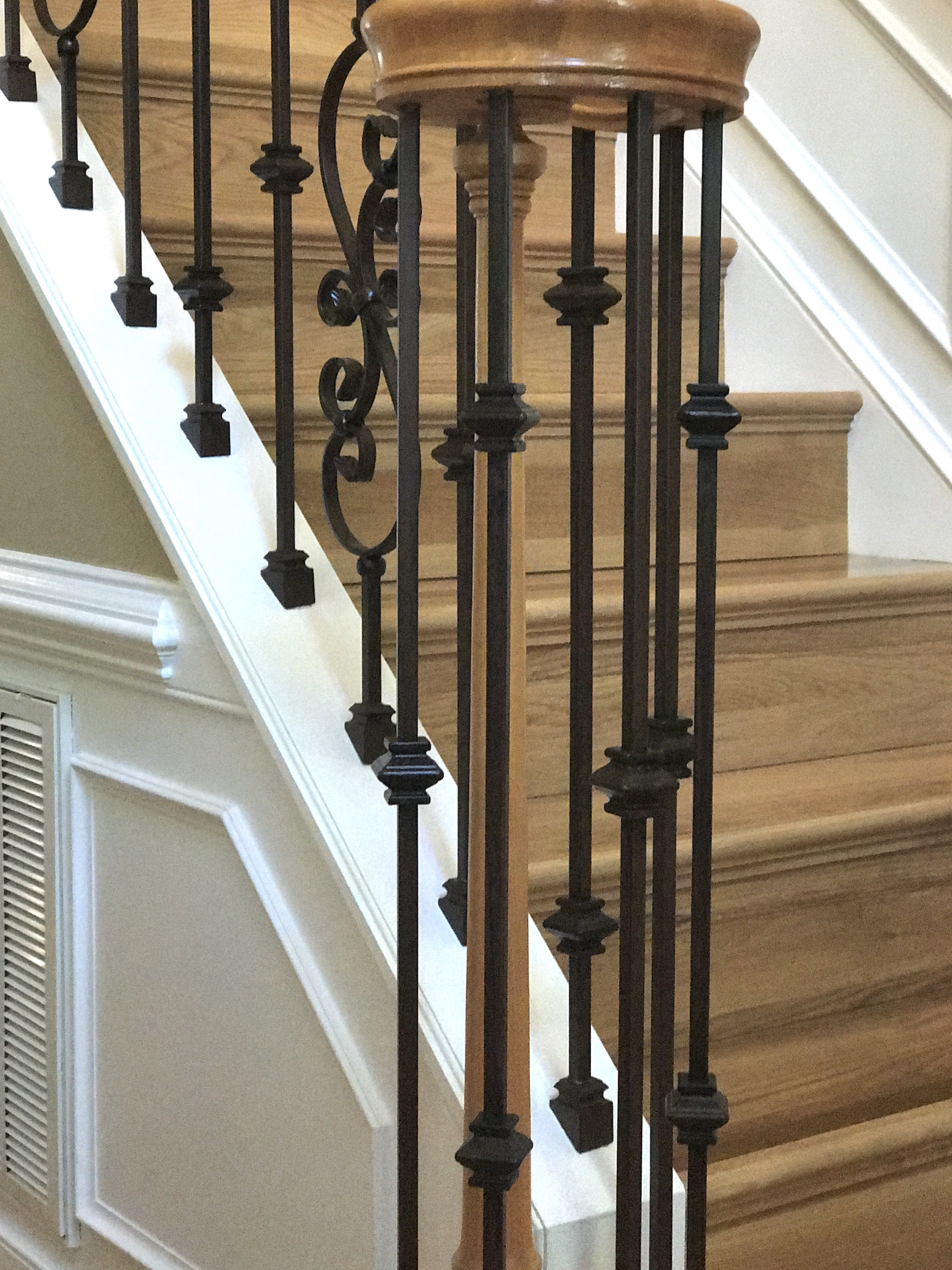 Balusters Installed And Balusters Remodeled Richmond Northern Virginia | Wood Handrail With Iron Balusters | Stairway | Wooden | Copper | Cast Iron | Landing