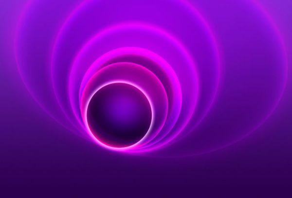 Картинка объем, 3D круги, кольца, неоновый свет на рабочий ...