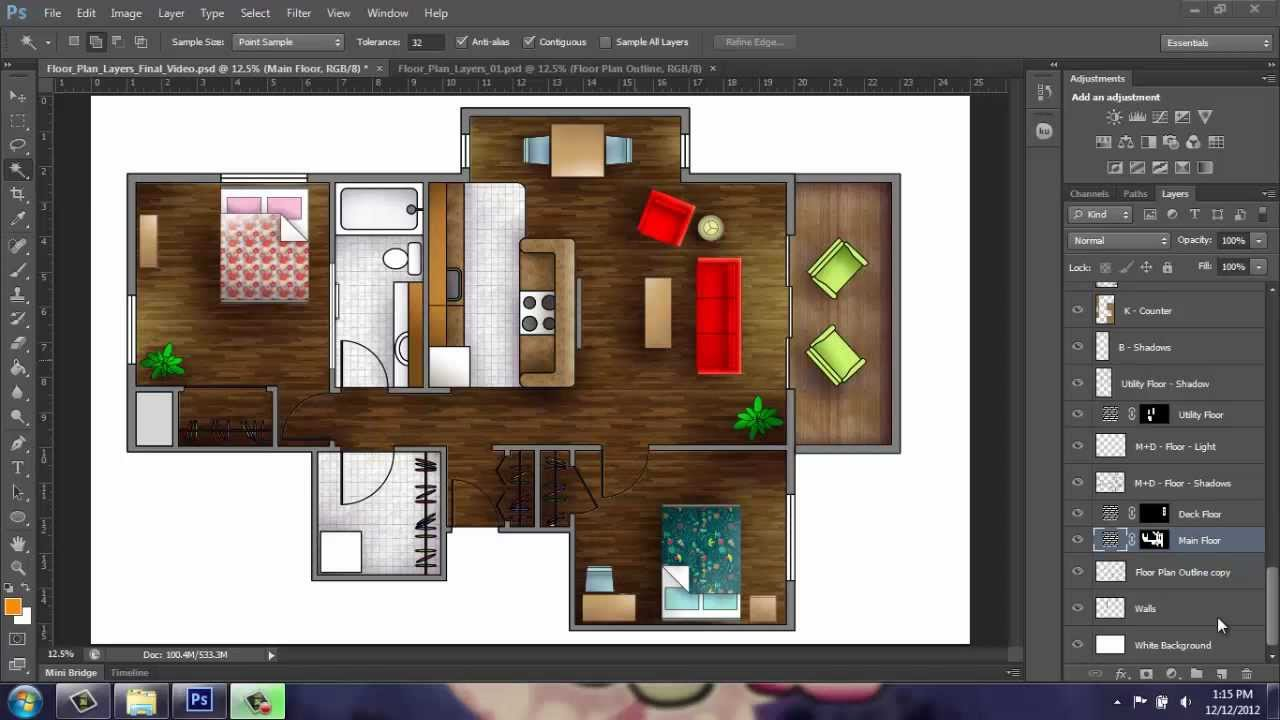 Adobe Photoshop CS6 Rendering A Floor Plan Part 1 Introduction Brooke Godfrey YouTube