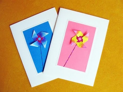 Greeting Cards Using An Easy Origami Windmill YouTube