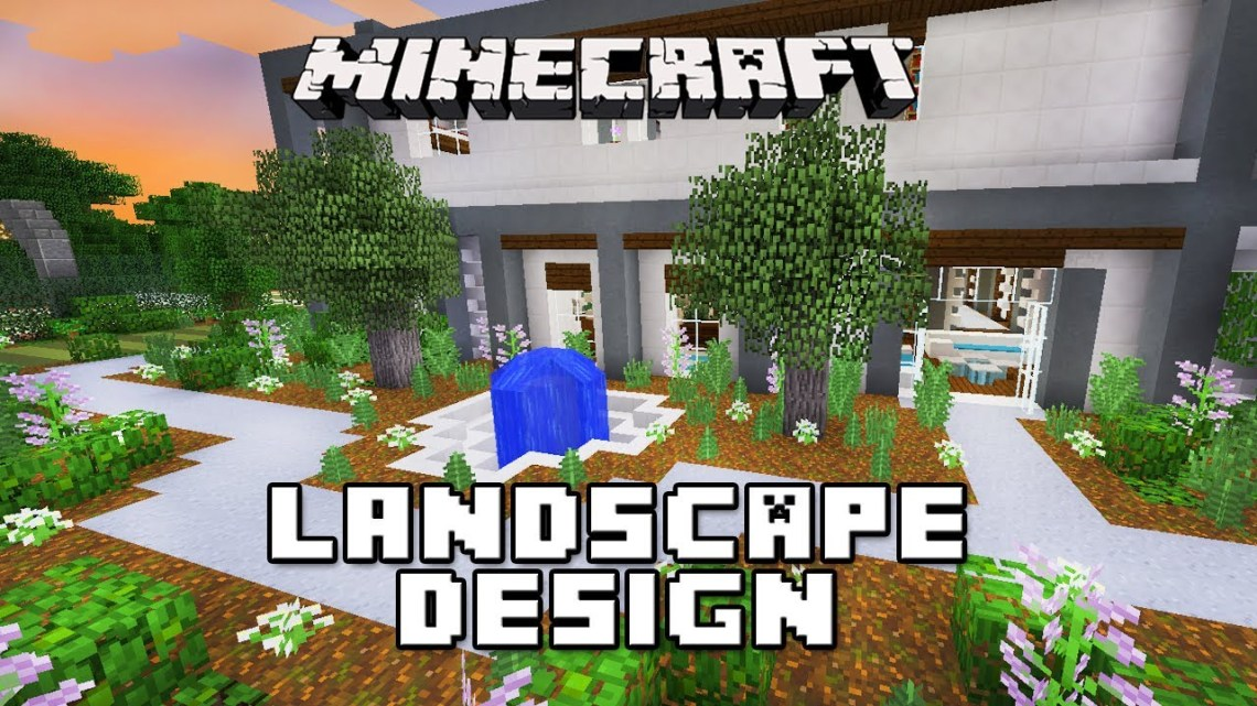 Minecraft Tutorial: Landscape Design with Fountain (Modern ...