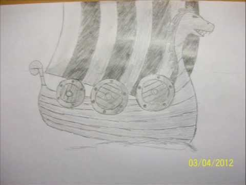 Drawing A Vikings Ship In Pencil Step By Step In 1 Minute