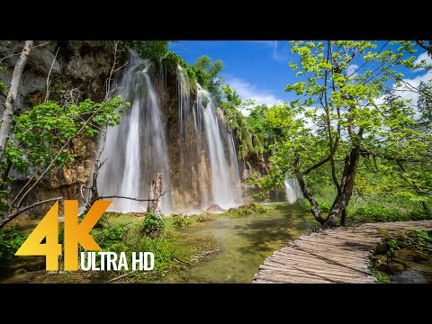 4K Virtual Walking Tour around Plitvice Lakes, Croatia - Amazing Nature Scenery with Soothing Sounds