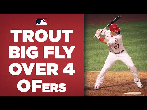 FOUR OUTFIELDERS can't stop Mike Trout! (Angels superstar homers over them all!)