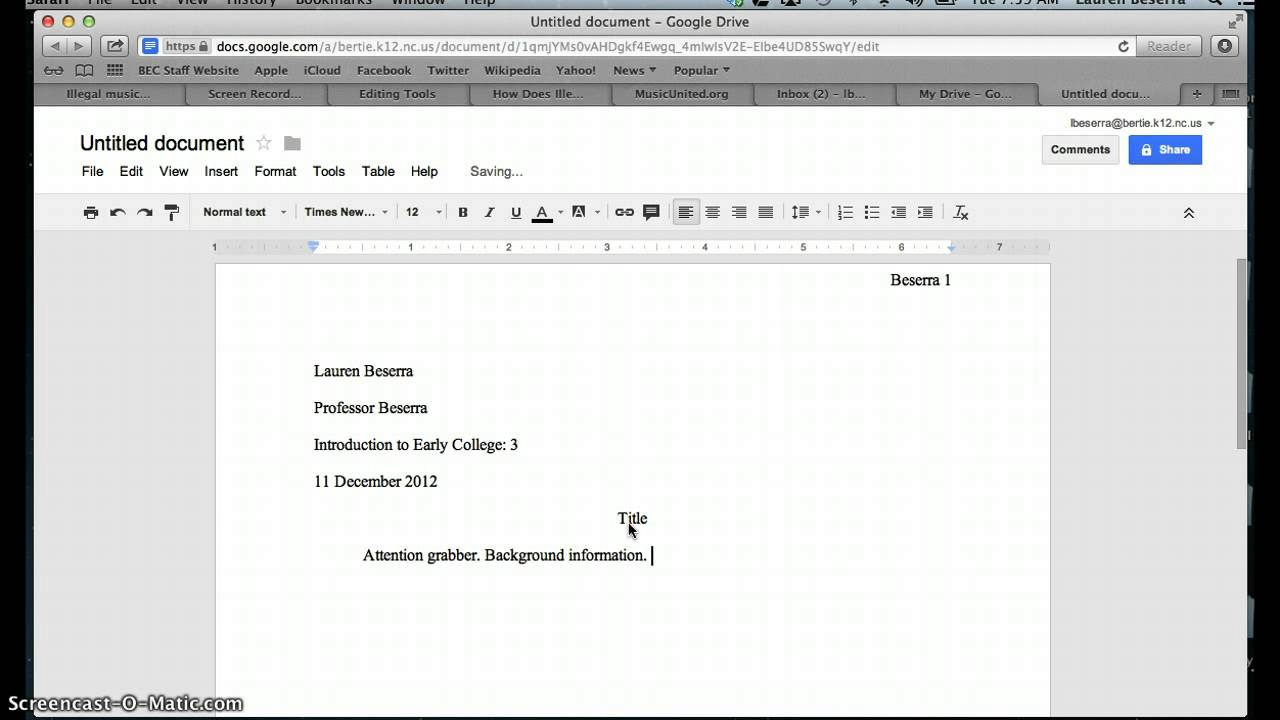 How To Set Up A Document In MLA Format In Google Docs YouTube