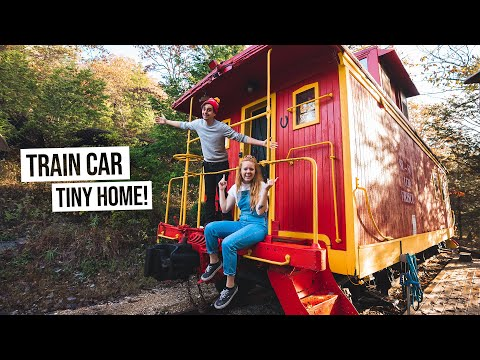 We Stayed in an OLD TRAIN CABOOSE! - Quirkiest Tiny Home EVER (Eureka Springs, AR)