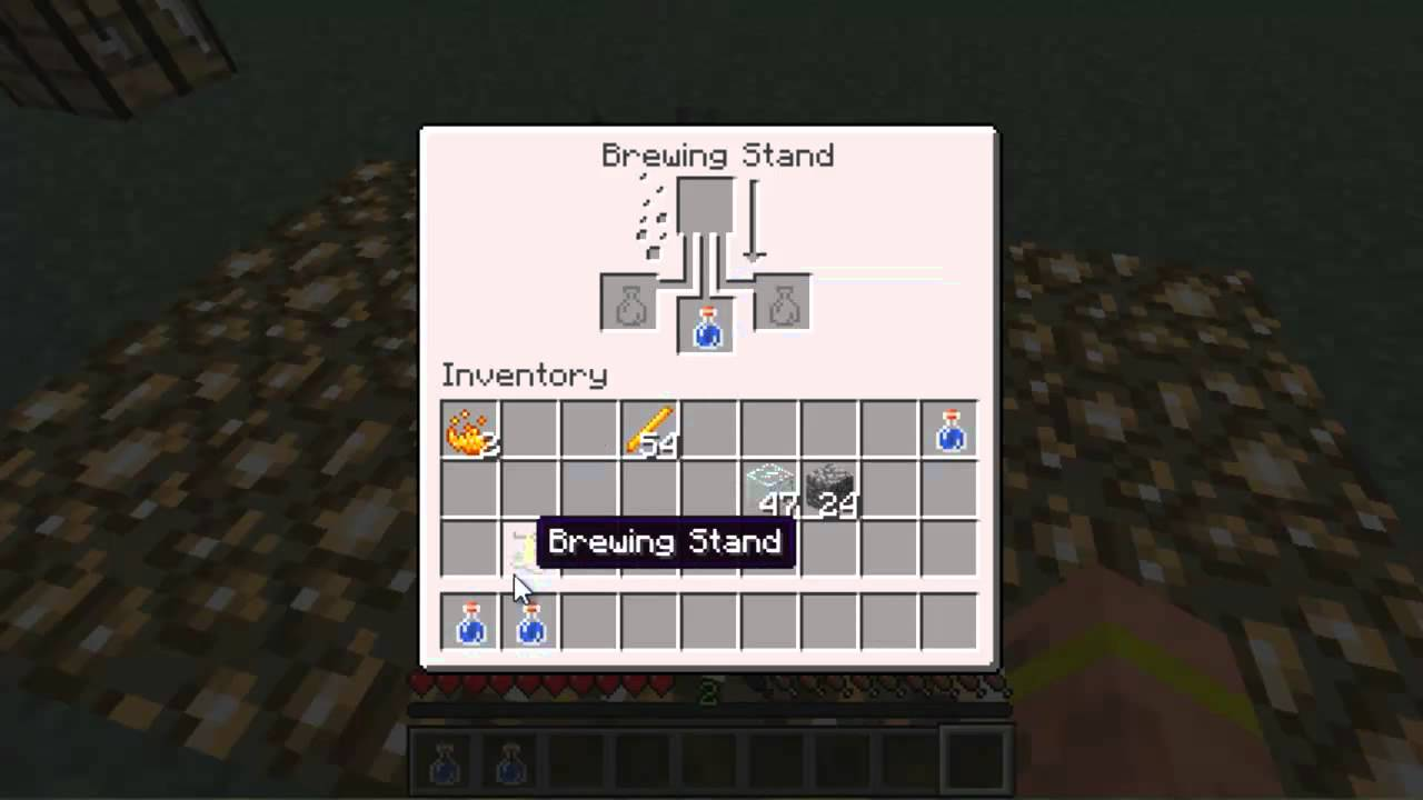 Minecraft How To Craft Brewing Stand And Glass Bottles YouTube