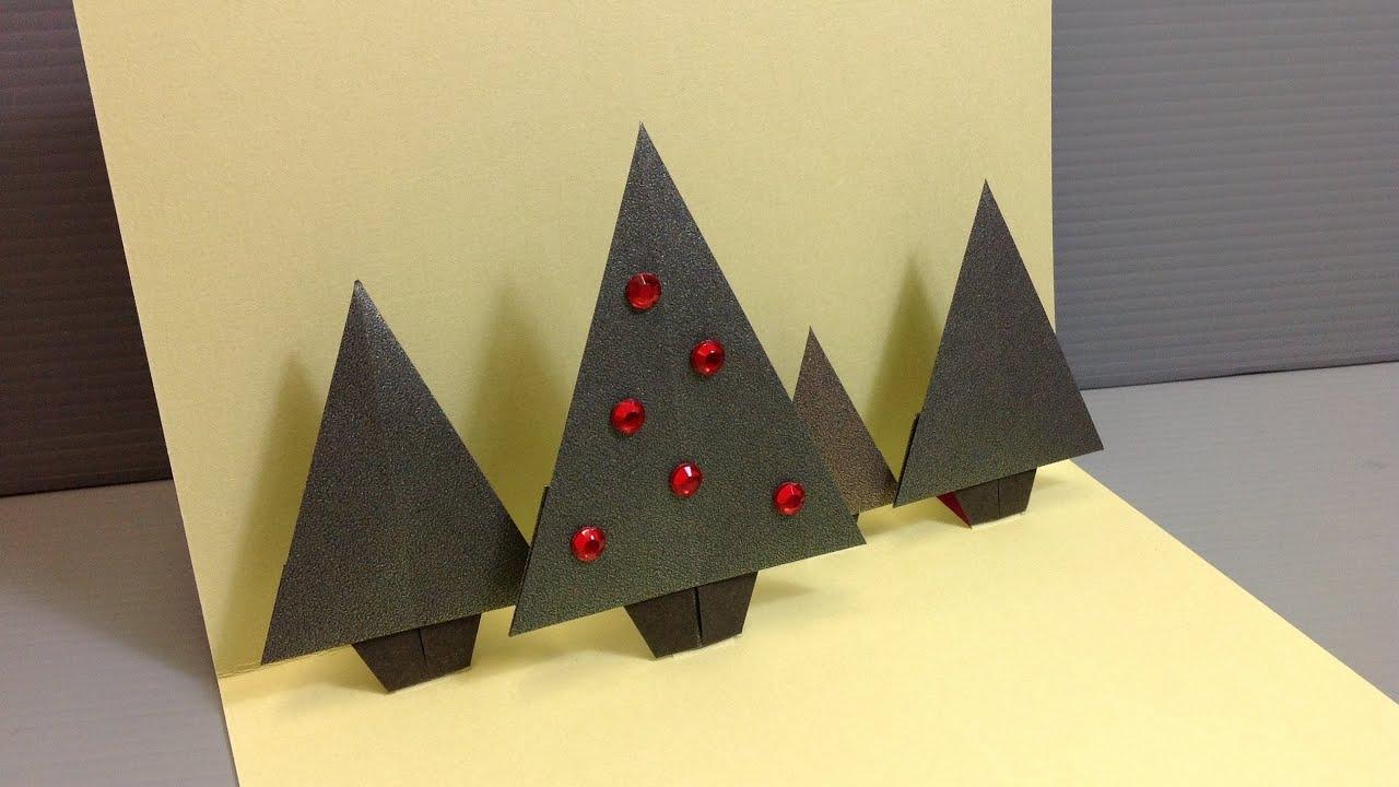 Origami Christmas Forrest Pop Up Card Handmade Cards