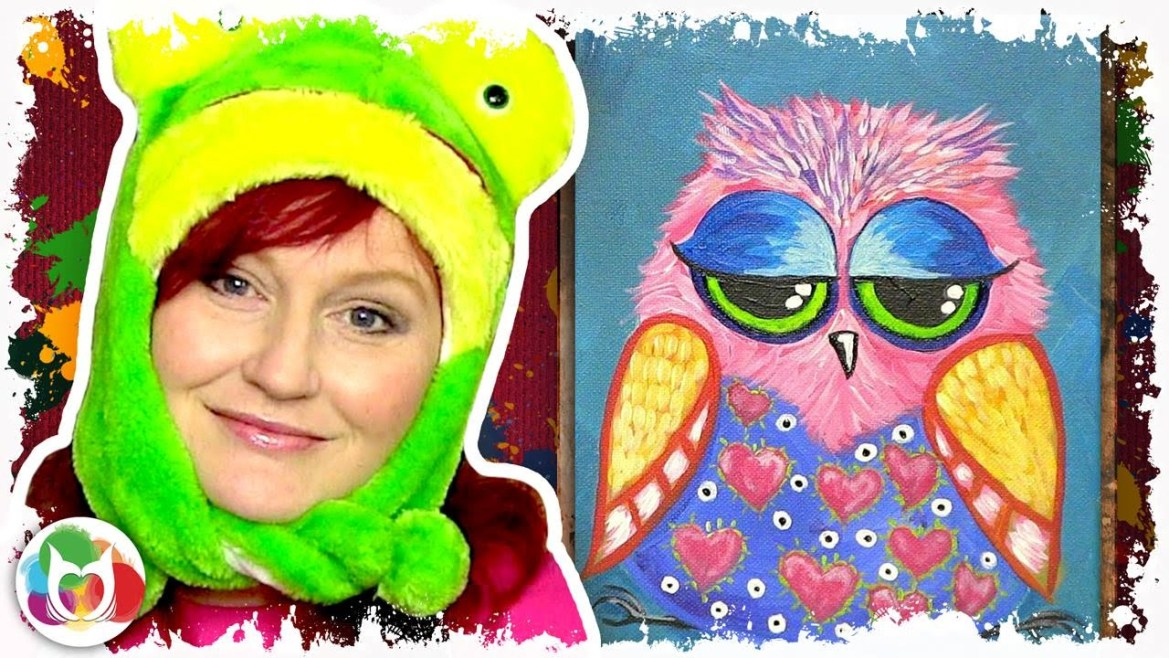 Funny Owl Online acylic lesson How to paint a little Hoot ...