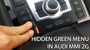Hidden green menu in Audi MMI 2G (A4, A5, A6, A8, Q7