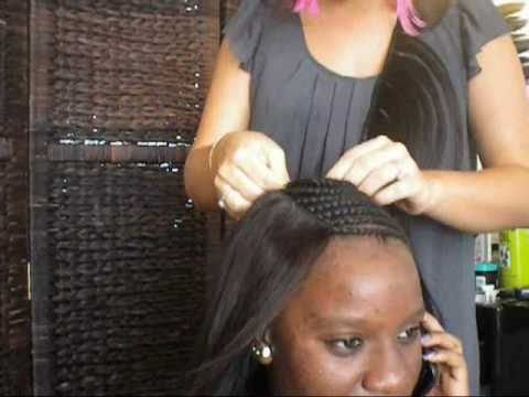 sewing a full head celebrity weave braid pattern closure styling youtube