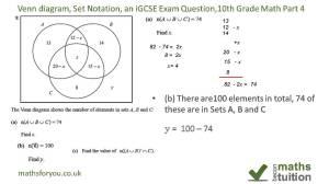 Venn diagrams, Set Notation, an iGCSE Exam Question, 10th Grade Math Part 4  YouTube