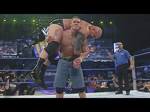 John Cena demolishes A-Train with a vicious Attitude Adjustment: SmackDown, Jan. 8, 2004