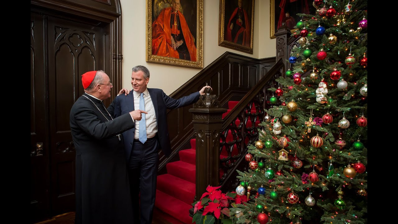 Mayor Bill De Blasio With Timothy Cardinal Dolan