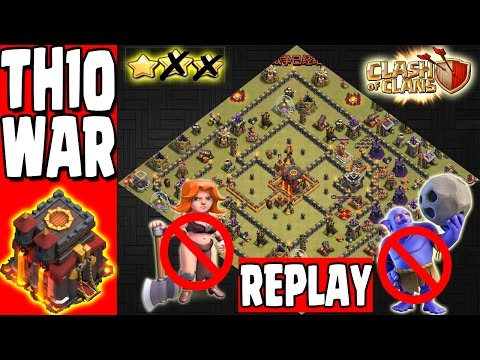TH10 VS TH11 REPLAYS TH10 WAR BASE WITH BOMB TOWER ANTI BOWLERVALKYRIE Xem Video Clip