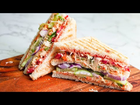 Club sandwich recipe - How to make veg club sandwich - Breakfast recipe