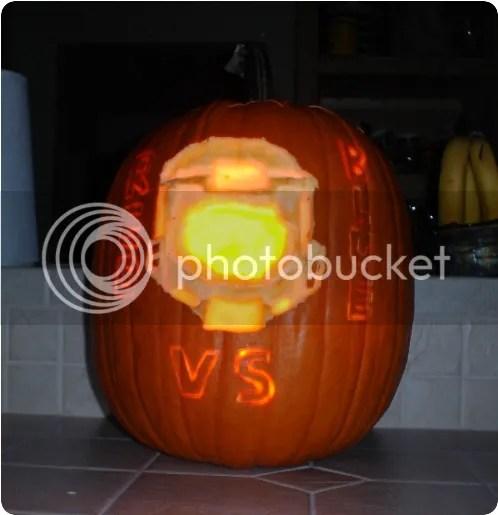 red vs. blue pumpkin