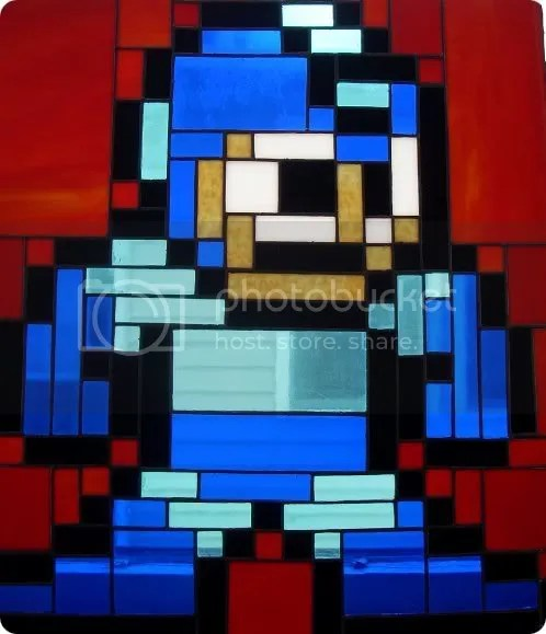 megaman stained glass