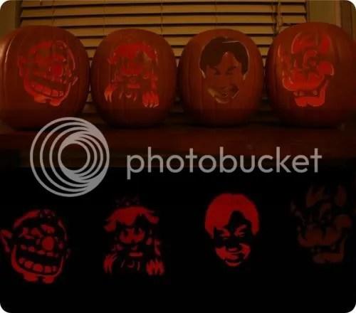 Miyamoto, Princess Peach, Bowser, Wario pumpkins