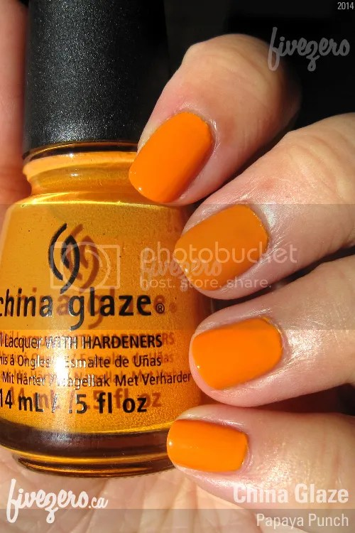 China Glaze Nail Lacquer in Papaya Punch, swatch