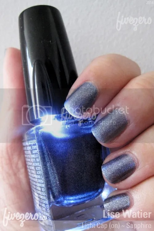Lise Watier Light Cap Nail Lacquer in Sapphire, swatch of light on