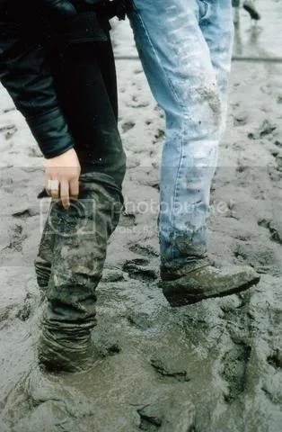 Muddy jeans and shoes