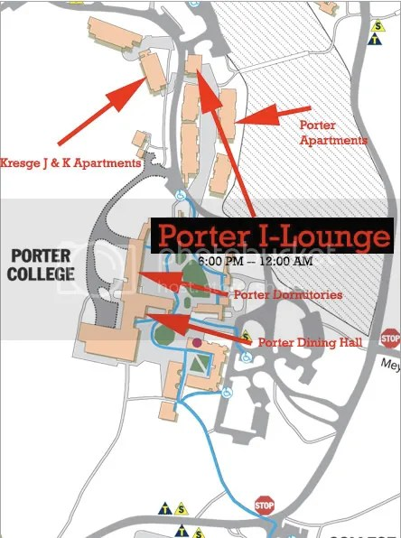 Map of Porter College (Pointing out where I-Lounge is located at)