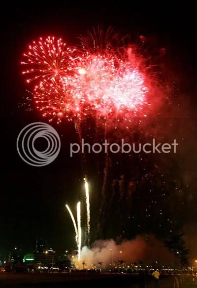 Fireworks burst in Ho Chi Minh City, Vietnam
