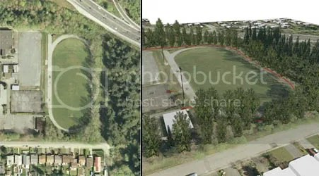 Photo and rendering of previous grass field. (Rendering copyright © 2008 Catherine Berris Associates Inc.)