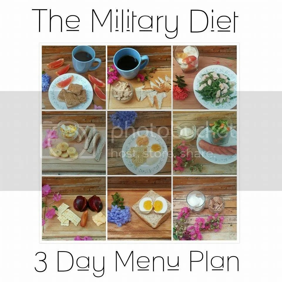military diet menu for 3 days