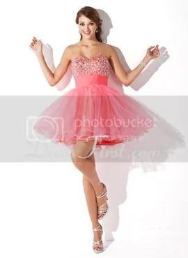 pink short homecoming gown