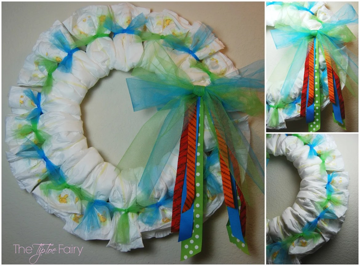 Baby Diapers Wreath Tutorial | The TipToe Fairy #BabyDiapersSavings #CollectiveBias #shop #diaperwreath #babygift #tutorial