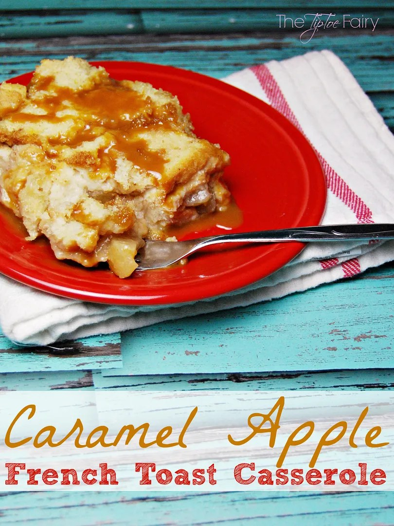 Caramel Apple French Toast - a frugal breakfast recipe that's great for school mornings or Christmas morning! | The TipToe Fairy #breakfastrecipes