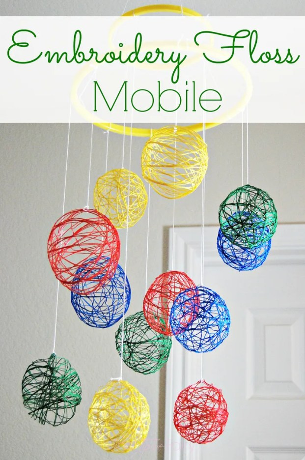 Embroidery Floss Mobile Tutorial | The TipToe Fairy #tutorial #nurserydecor #baby