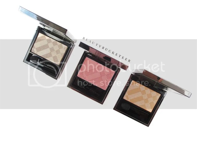 "Burberry Beauty Wet & Dry Silk Shadows No. 002 ""Nude"", No. 201 ""Rose Pink"" and No. 003 ""Shell""."