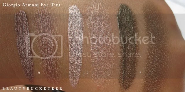 """L - R: Giorgio Armani Eye Tints Swatches """"9 Cold Copper"""", """"12  Gold Ashes"""" and """"6 Green Iron""""."""