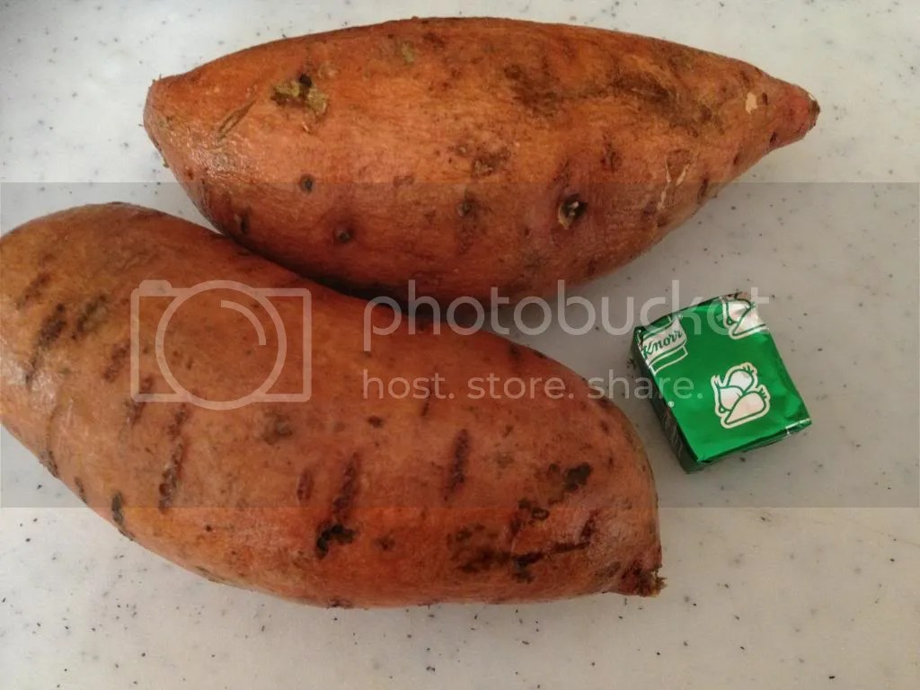 Sweet potatoes and a vegetable stock cube.  The makes of a great dish for your baby.