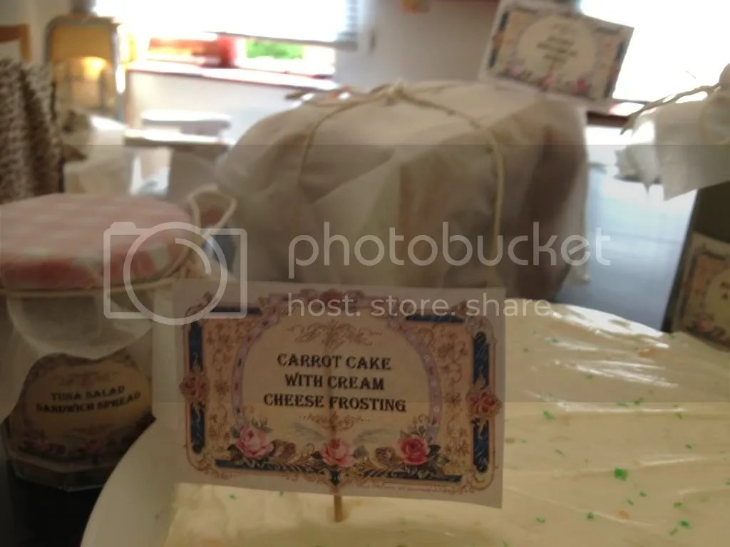 carrot cake with homemade vintage food label
