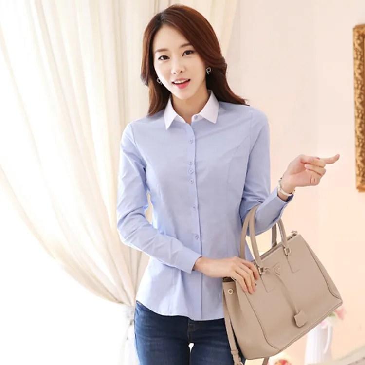 修身顯瘦OL襯衫 韓版工作服(藍衣白領)wcps61_OL套裝白襯衫面試_女裝_CPshirt