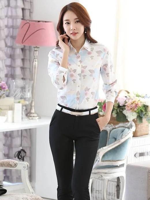 (清倉)花朵雪紡繽紛色 wcps78_OL套裝 白襯衫 面試_女裝_CPshirt