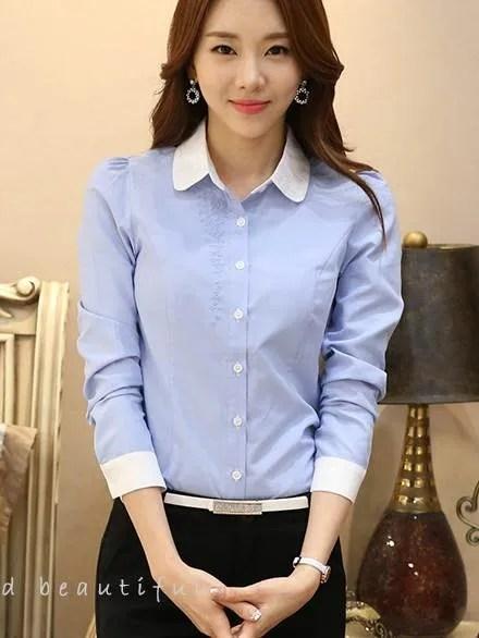 韓版OL服飾 襯衫 淺藍繡花娃娃領 wcps79_OL套裝 白襯衫 面試_女裝_CPshirt