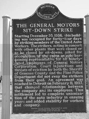 flint sit-down strike 1937 site uaw general motors fisher body one michigan historic marker