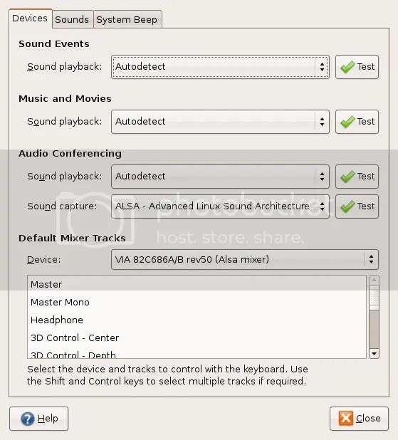 Ubuntu Sound Preferences Screen